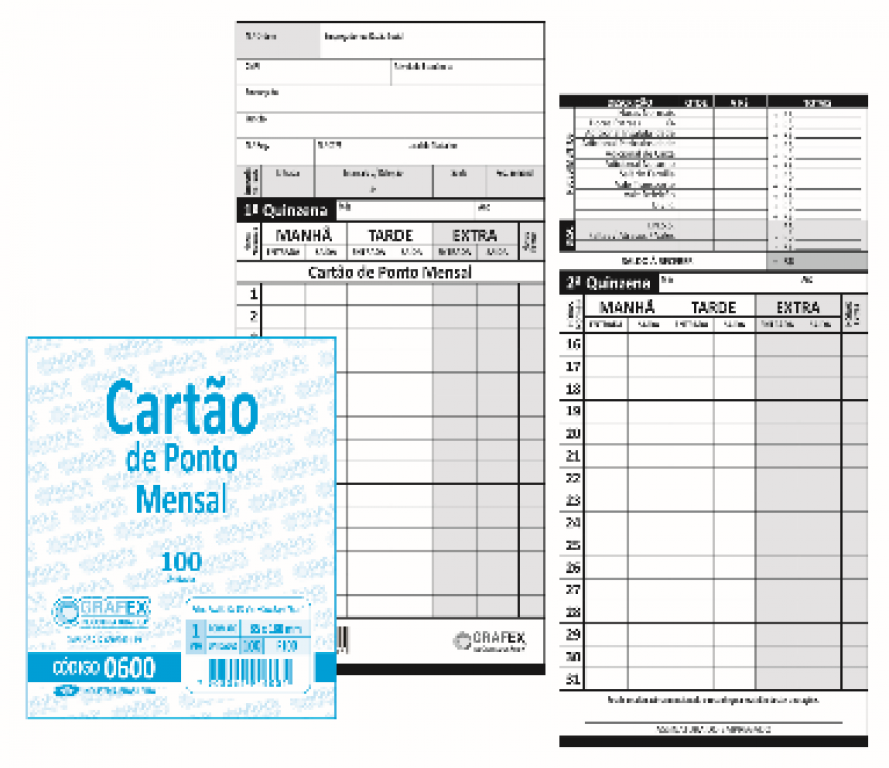GRAFEX - CARTAO DE PONTO MENSAL F100 - PT.100UN